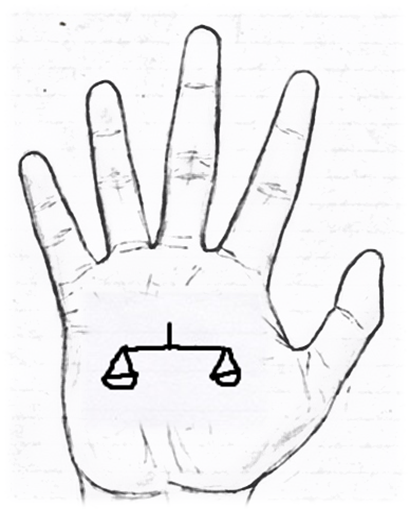 Sign of a scale in palmistry