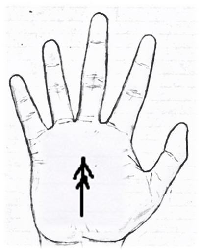 Sign of an arrow in palmistry