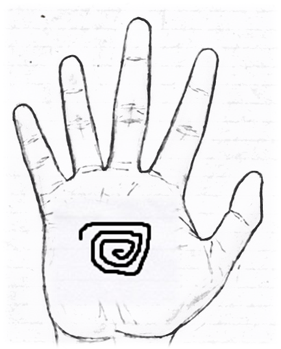 Sign of a whorl in palmistry