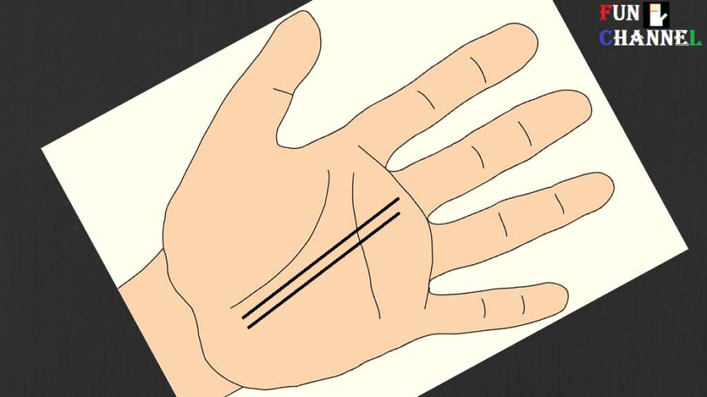 Two parallel fate lines on the palm-lucky sign