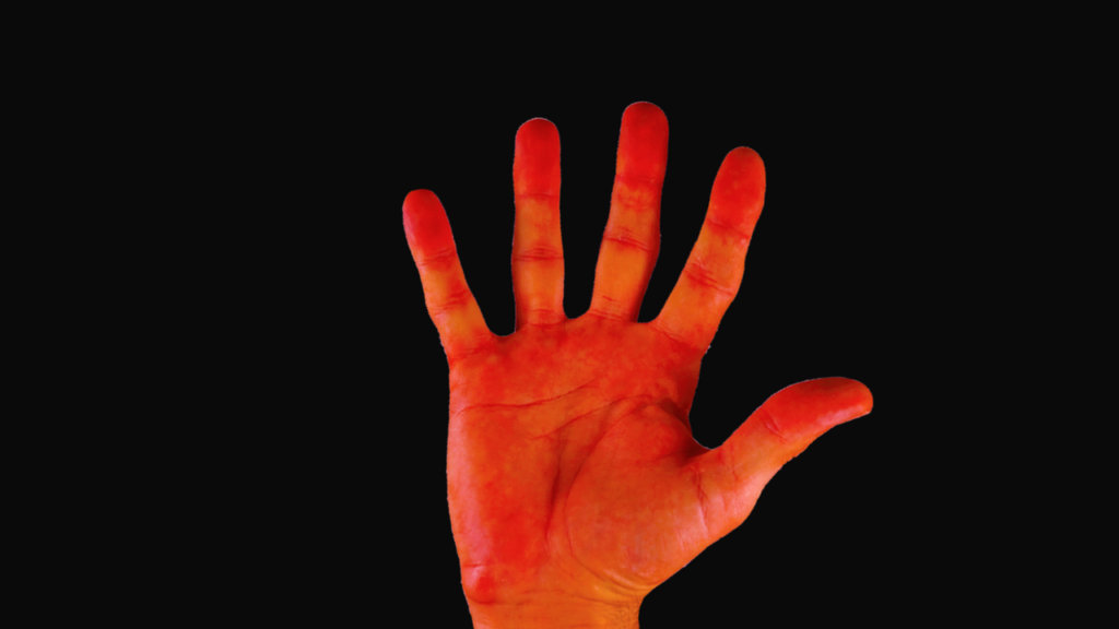 Color of the hand is red in color