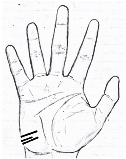 Travel lines in palmistry