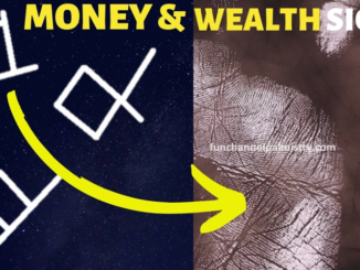Money and square sign in palmistry